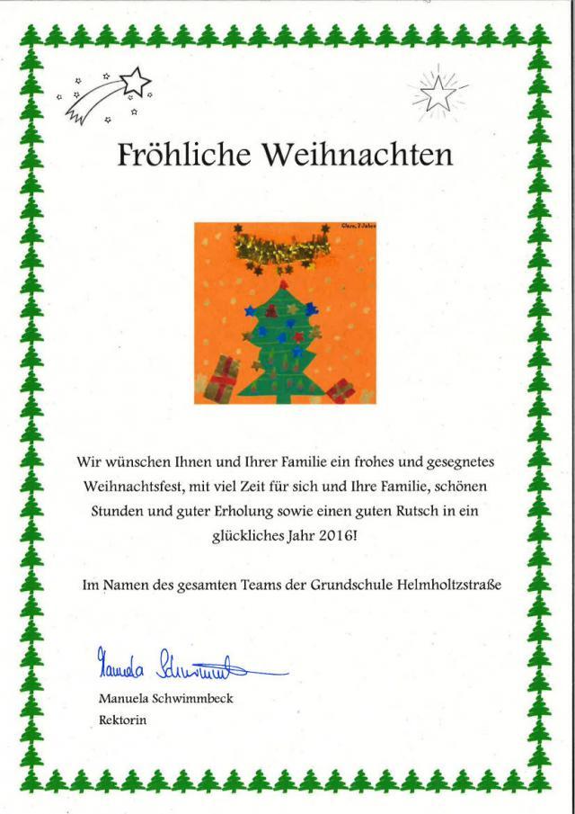 Weihnachtsgrüße Grundschule.Aktuelles Grundschule Mit Tagesheim An Der Helmholtzstraße